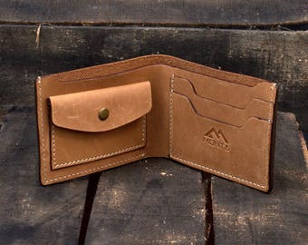 Mens Handmade Leather Bifold - Leather Wallet - Personalized Cowhide Leather Wallet - Slim Leather Wallet - Minimalist Leather Wallet