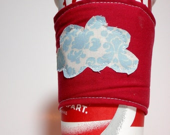 Dreamy Cloud Cup Cozy. Reversible.  Made with Recycled Fabrics.  Eco-friendly.