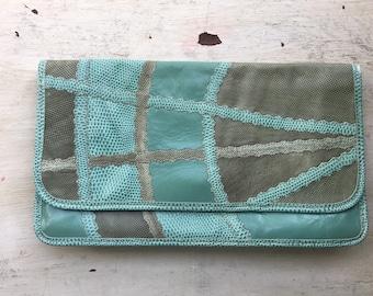Rare Carlos Falchi Leather Clutch, Turquoise and Green Purse, Multiskin, Exotic Skins, Snake Skin, Calf Sin, Boho Style, Designer Bag