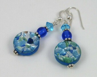 Blue Lagoon Earrings, foiled milifiori glass beaded dangles on sterling silver wires