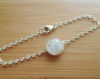 Sterling silver Rainbow moonstone bracelet, birthstone for June