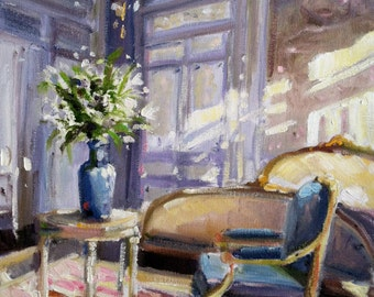RUSSTOEL IN BLOU Art Print of Original Oil Painting, French sunlit bedroom in blue and cream