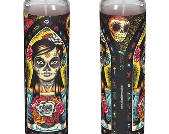 """Mexican Day of the Dead Candle - """"Muerta"""""""