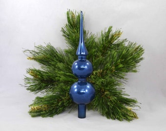 Vintage Glass Spire Christmas Tree Topper, Blue Glass Topper In A Box