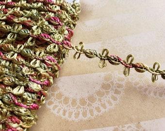 "Rosebud Chain Braid Trim - Sage Green Rose Red Gold - Sewing Ribbon - 7/16"" Wide - 4 Yards"