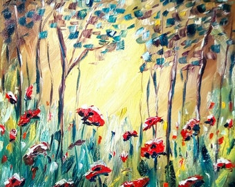 Forest of Poppies - Original Oil Painting 20 x 16