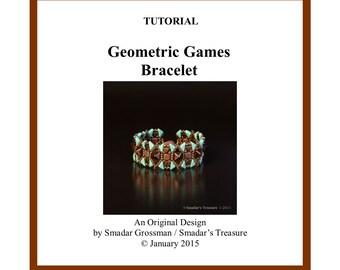 Beading Tutorial, Geometric Games Bracelet, Beading Pattern with 2 Hole Tango, Kheops Triangle, Pyramid Stud Tile Beads. Beadweaving Pattern