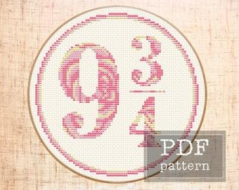 Platform 9 3/4 cross stitch pattern Harry Potter cross stitch Easy Floral cross stitch Hogwarts Express Counted cross stitch chart Download