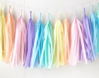Pastel Rainbow Tassel Garland - Girls Room Decor - Room decor - Nursery Decor - Photo Prop