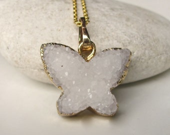Butterfly Necklace White Druzy Necklace Monarch Butterfly Gold Necklace Rough Raw Stone Boho Statement Necklace