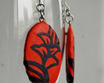 Red Flower Paper Earrings Dangle Tomato Red Orange Flower Leaf Design Hypoallergenic hooks Lightweight Ear rings