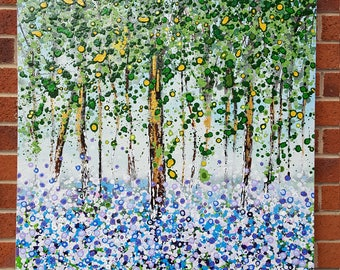 """Original Painting 'Bluebells' in Acrylic Painted on High Quality Boxed Canvas (30"""" x 30""""/ 760mm x 760mm)"""