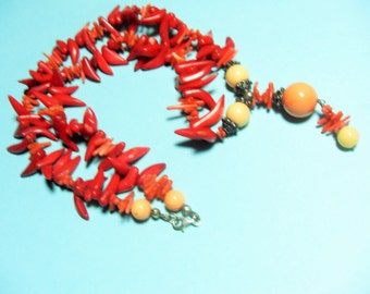Coral necklace, Salmon bead, red branch  beaded necklace, Sterling bead caps and findings, FREE matching pierced earrings, Gingerslittlegems