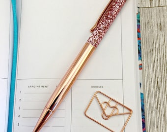 Rose gold floating glitter pen, metallic glitter pen, sparkle pen, bullet journal accessories, school supplies, stationary, rose gold pen