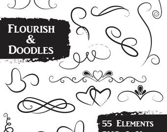 Flourish and Doodles Clip Art Set - Commercial Use Vector Clipart - Includes 55 Images in PNG and EPS format  - INSTaNT DOWNLoAd