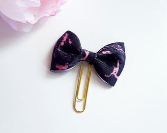 Black and Rose Gold Marble Planner bow paperclip or TN charm