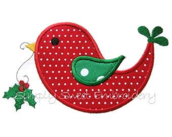 Christmas Holly Bird Applique Design