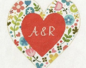 DMC Personalised Heart Cross Stitch Kit BK1673,  Designed by Jayne Schofield , Flowered Forms, counted cros stitch, floral / flower kit