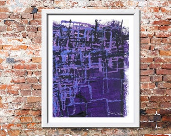 Purple Blue Abstract Blocks print