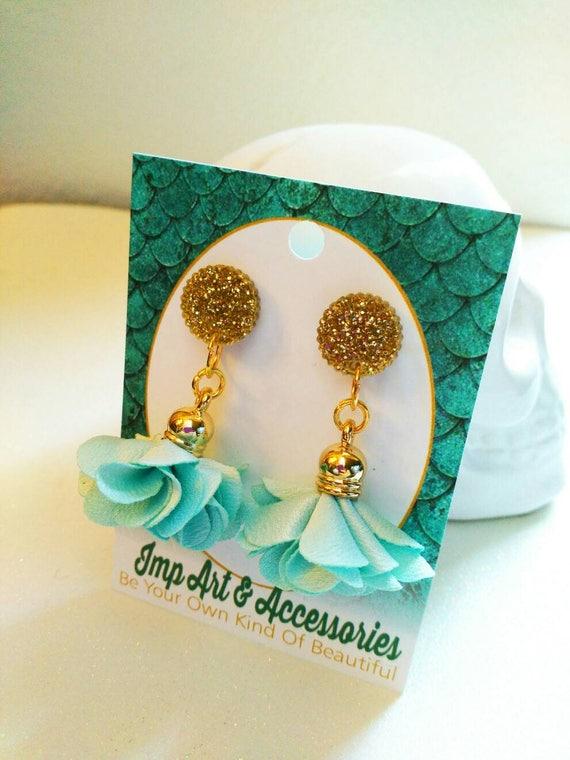 AQUA ROSETTES-14mm Post/Stud Nude Rosette Tassel in Gold Tone Setting Gold Glitter  Laser Cut Acrylic Earrings
