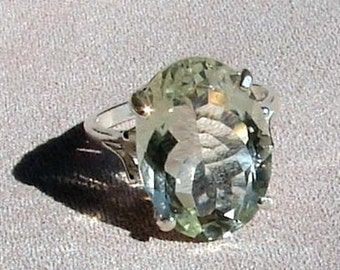 Green Amethyst Ring - Med Oval Cut