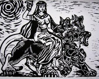 Babalon on Her Sweet Ride Linocut Print *FREE SHIPPING Goddess Revelations Scarlet Woman Babylon Thelema