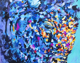 Buffalo Print,Canadian artist,art,painting,animal print,colourful buffalo painting,colourful art,Bison,original art,buffalo,art print,kids