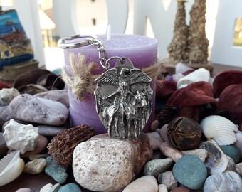 Indians Buffalo Eagle Horse symbol neckalce pendant,Indians on horse keychain,Native Indians Chief necklace keychain,Buffalo indian keychain