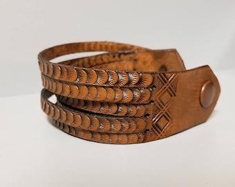 Brown Leather Double Wrap Bracelet