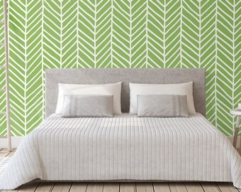 Greenery removable wallpaper chevron self adhesive wall mural green arrows hand drawn herringbone  geometric pattern wall decal CC032
