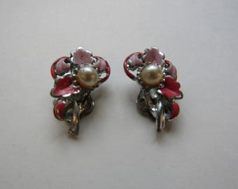 Pearl and enamel Clip on earrings