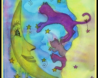 Mr. Moon and the Star greet the kitties in the clouds, Cats, Watercolor, Cards or Prints, Item #0342a