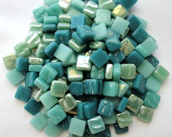 100 8mm Teal Mint Mix Mini SQUARES//Recycled Glass Mosaic Tiles//Mosaic Supplies//Craft Supplies//Mosaic Tiles