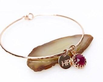 Genuine Ruby Bracelet / Ruby Charm Bangle / July Birthstone / New Mother Gift / July Birthday Gift for Her / New Mom Present