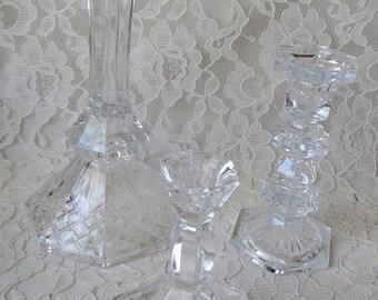 Vintage Crystal Candleholder Candlestick Collection, Set of 3