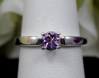 Genuine Grade AAA Brazilian Amethyst Solitaire Sterling Silver Ring.  Gorgeous Color!  February Birthstone.  Size Selectable.