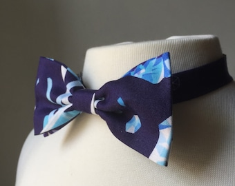 Blue Geometric Gemstone Bow tie, pre-tied, adjustable bowtie, gift for him, Mens bowtie