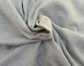 Heather Gray Cotton Interlock Knit Fabric By the Yard 1/16