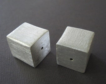 Large Matte Brushed Sterling Heavy Square Focal Cube Bead 18mm
