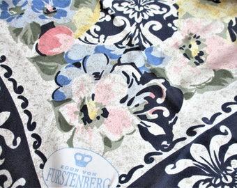 Von Furstenberg Scarf Italian Silk Scarf Large Navy Blue Floral Shawl Vintage Designer Signed Scarf Made in Italy 100% Silk Scarf Huge Shawl
