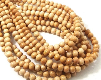 "Meranti Wood Beads, 6mm, ""Philippine Mahogany,"" Light, Round, Natural Wood Beads, Smooth, Small, 16 Inch Strand - ID 2167-LT"