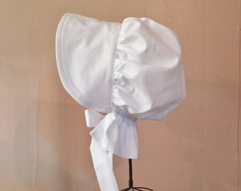 Girls Small White Pioneer Bonnet or Sun Hat