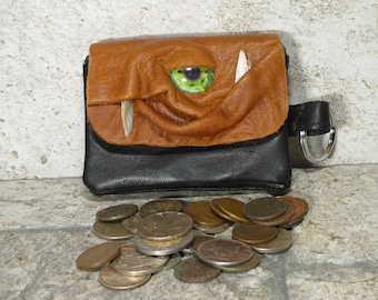 Coin Purse Zippered Change Purse Brown Black Leather Monster Face Pouch Key Ring  36