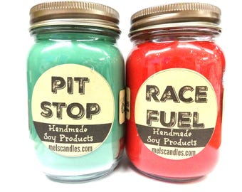 COMBO Pit Stop & Race Fuel Set of Two 16oz Country Jar Handmade Soy Candles Unique Candles is what we love to Do
