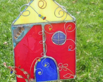 Red Fairy House Stained Glass and Copper Fantasy Home or Garden Decor
