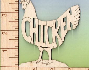 Chicken laser cut and engraved wood Magnet