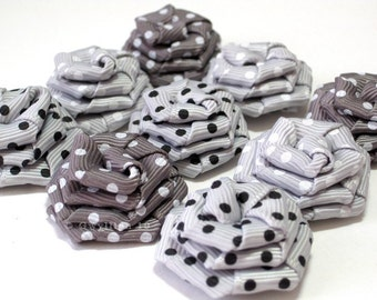Classic Grey Multi Polka Dot Rose Drops - (9)