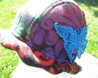 Scalloped Edge Fleece Bucket Hat with Beautiful Blue Lace Butterfly