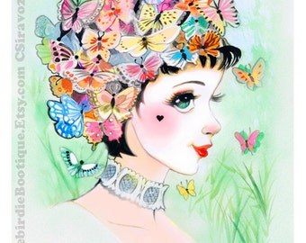 Pierrot papillon Shoujo rétro Lady aquarelle Illustration impression 8,5 x 11