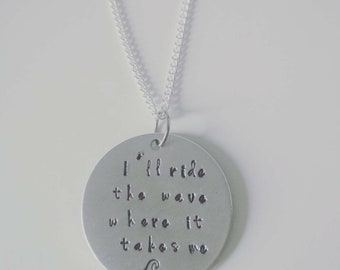 Release, handstamped necklace with lyrics